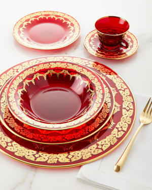 Neiman Marcus Red Oro Bello Dinner Plate, Set of 4