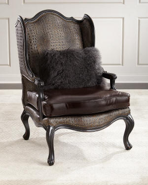 Massoud Sarah Leather Wingback Chair