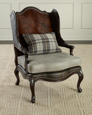 Massoud Christian Leather Wing Chair