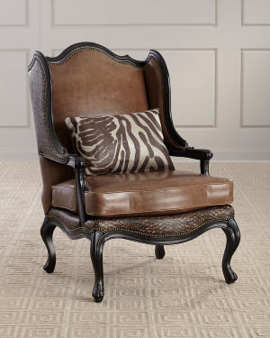 Massoud Lettsworth Leather Wing Chair